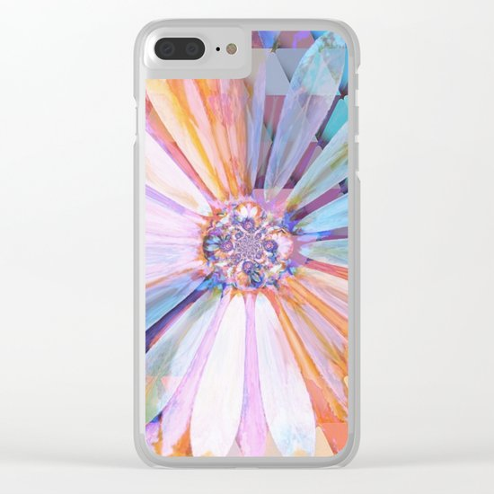Daisy on Triangles Clear iPhone Case