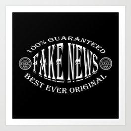 Fake News badge (white on black) Art Print