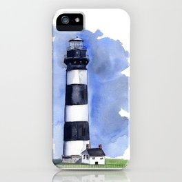 Bodie Island Lighthouse loose watercolor painting iPhone Case
