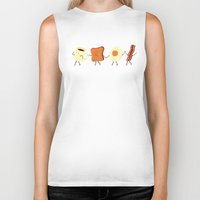 egg Biker Tanks featuring Let's All Go And Have Breakfast by Teo Zirinis