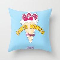 santa monica Throw Pillows featuring santa monica by DSD - Details Studio Design