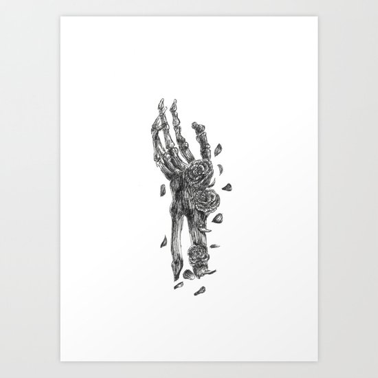Skeleton Hand Embellished With Flowers Black and White Art Print
