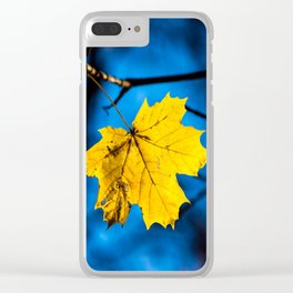 Yellow Mapple Leaf On Blue Clear iPhone Case