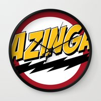 bazinga Wall Clocks featuring Bazinga by Maxx Hendriks