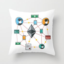 Ethereum Transactions Throw Pillow