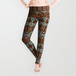Mudcloth Style 2 in Brown and Teal Leggings