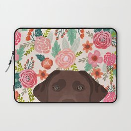Chocolate Lab florals dog breed portrait pet art dog lover gifts labrador retriever Laptop Sleeve