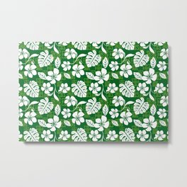 Green and White Aloha Hawaiian Flower Blooms and Tropical Leaves Pattern Metal Print