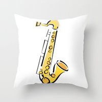 saxophone Throw Pillows featuring Saxophone Sax by shopaholic chick