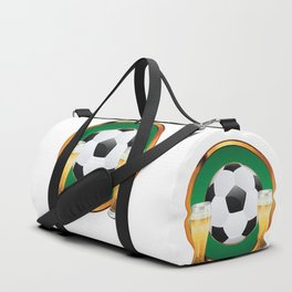 Two beer glasses and soccer ball in green circle Duffle Bag