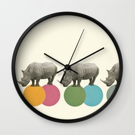 Rambling Rhinos Wall Clock