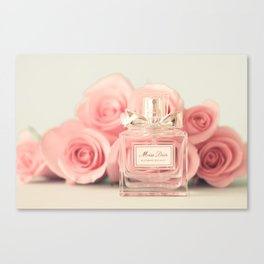 Delicious perfume still life with roses Canvas Print