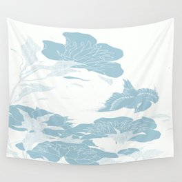 japanese Flowers White and Blue Wall Tapestry