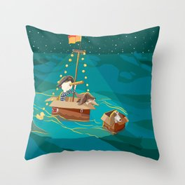A boy, a box and two bassets hounds_Water Throw Pillow
