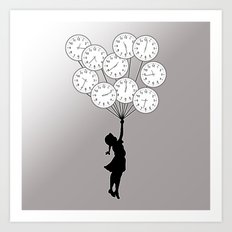 The Girl Flying With Time Art Print