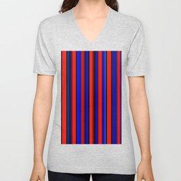 Red blue and black stripes Unisex V-Neck
