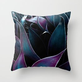 Abstract Leaves Dark Teal Purple Throw Pillow