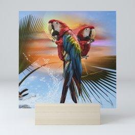 Scarlet macaw couple Mini Art Print