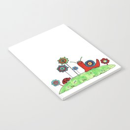 Summer Joy - Abstract Snail and Flowers Notebook