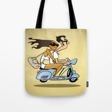 Couple on a Vespa Tote Bag