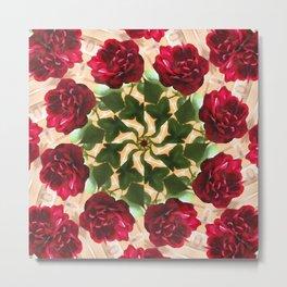 Old Red Rose Kaleidoscope 12 Metal Print