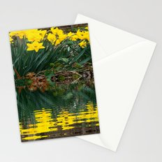 YELLOW DAFFODILS WATER REFLECTION PATTERN Stationery Cards