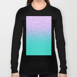 Modern mermaid lavender glitter turquoise ombre pattern Long Sleeve T-shirt