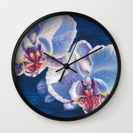 Two White Orchids Wall Clock