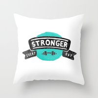 crossfit Throw Pillows featuring Stronger Every Day (dumbbell) by Lionheart Art