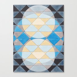 Triangle Pattern No. 14 Circles in Black, Blue and Yellow Canvas Print