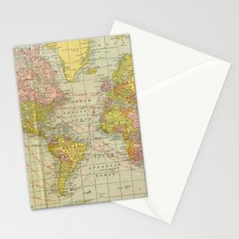 Vintage Map of The World (1909) Stationery Cards