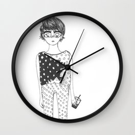 iced coffee and poka-dots Wall Clock