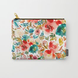 Red Turquoise Teal Floral Watercolor Carry-All Pouch