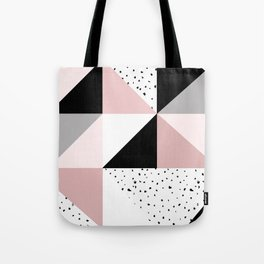 Geometrical pink black gray watercolor polka dots color block Tote Bag