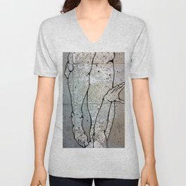 Digital Cave Painting - Reminiscence of Gesture 1 Unisex V-Neck