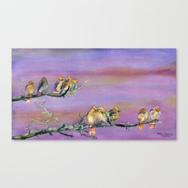 Bohemian Waxwings Birds Canvas Print