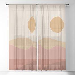 Geometric Landscape 23A Sheer Curtain