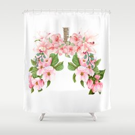 Botanical Blooming Flower Lungs Anatomy Print Floral Art Gift  Shower Curtain