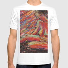 Hypatia on Fire MEDIUM White Mens Fitted Tee