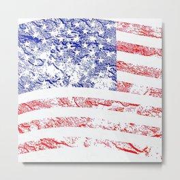 Grunge style American flag Metal Print