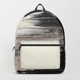 Artistic ivory black gold glitter paint brushstrokes Backpack