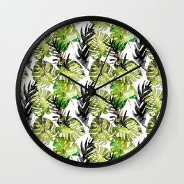 Watercolor monstera areca leaves illustration Wall Clock