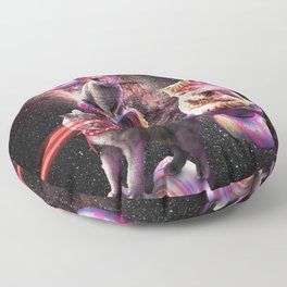 Galaxy Laser Yo-Yo Cat - Space Yo-Yo Cats with Lazer Eyes Floor Pillow