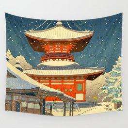 Asano Takeji Japanese Woodblock Print Vintage Mid Century Art Winter Red Shinto Shrine Snow Pagoda Wall Tapestry