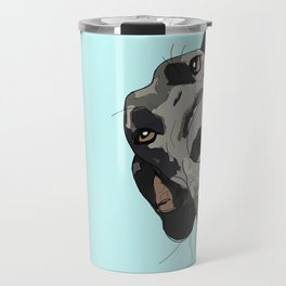 Great Dane in your face (teal) Travel Mug