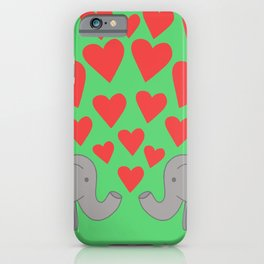 Christmas Loved up Elephants iPhone Case