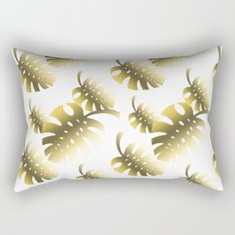 Modern gold color tropical cheese leaves pattern Rectangular Pillow