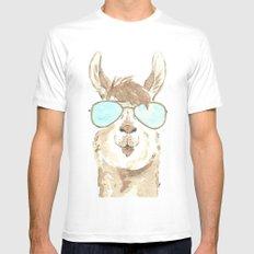 Aviator Llama Watercolor White MEDIUM Mens Fitted Tee