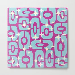 Mid Century Modern Cosmic Abstract 139 Magenta and Blue Metal Print