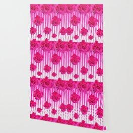 ABSTRACTED CERISE PINK ROSES GARDEN ART Wallpaper